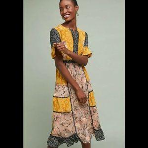 Anthropologie Let Me Be Autumn Patchwork Dress L